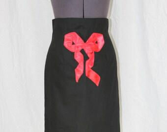 High Waist Black Pencil Skirt with Bow