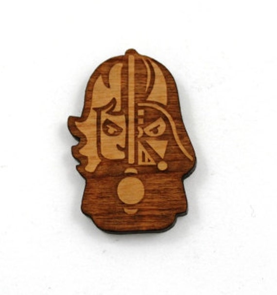 Laser Cut Supplies- 1 Piece.Anakin Skywalker Charms- Cherry Wood Laser Cut-Brooch Supplies-Little Laser Lab Sustainable Wood Products