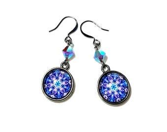 Vibrant  Violet Purple Dangle Earrings, Mandala Earrings, Chakra Jewelry, Kaleidoscope, New Age Jewelry, Drop Earrings