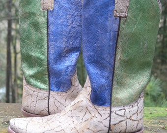 NEW Stetson Rustic Cowgirl Diva Boots Women Crackled Bark Snip Toe, Size 8, Custom Painted Blue & Green