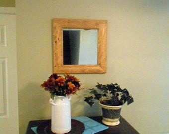 "Rustic Farmhouse Mirror 17.5"" x 17.5"" Wood Mirror Recycled Reclaimed Wood Mirror Rustic Mirror"