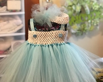 blue tutu dress for toddler with headband