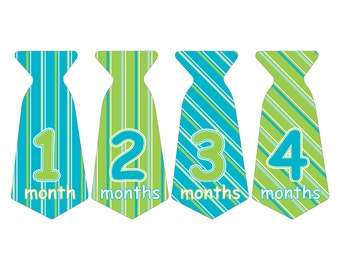 12 Pre-cut Monthly Baby Milestone Waterproof Glossy Stickers - Neck Tie Shape - Design T008-05