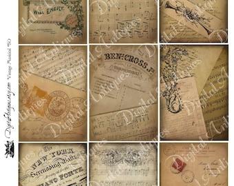 Vintage Aged Musical Ephemera Collage Sheet Instant Digital Download