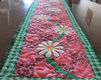 Flower Quilted Table Runner, Handmade Table Runner, Wall Hanging