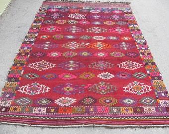 "Diamond design Arrow Kilim rug, Vintage Turkish rug, rugs, vintage rug, bohemian rug, eccentric rug,  102"" X 68 "" ( 255 cm X 170 cm )"