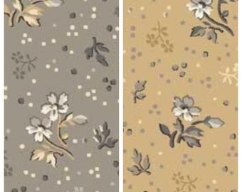 "Flowers with Dots Traditional Tan or Gray Fabric - 45"" wide 100% cotton fabric [[by the half yard]]"