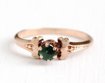Sale - Antique Garnet Ring - Victorian 10k Rose Gold Doublet - 1890s Size 5 1/2 Green Solitiare Composite Gem Simulated Emerald Fine Jewelry