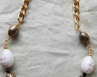 Gold and Egg Necklace