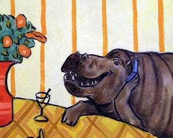25% off Hippo with a Cell Phone at the Martini Bar Art Tile Coaster