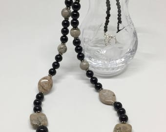 Petoskey stone and black onyx necklace, Petoskey stone jewelry, Petoskey stone jewelry, fossil necklace, Michigan necklace, black necklace