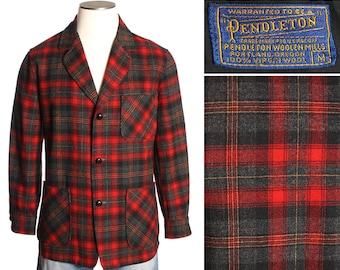 vintage Pendleton jacket • 1960s mens red shadow plaid blazer