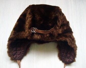 Vintage child's brown winter hat for boy Vintage baby toddler fur hat Soviet kids fur hat Soviet era Made in USSR