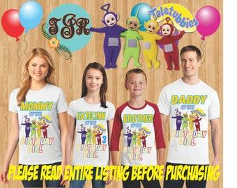 TELETUBBIES BIRTHDAY GIRL family Shirts design Raglan Long Sleeve Short Sleeve Tank tops Infant/Toddler Sizes Ladies Cut Tshirt onesie
