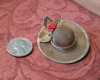Vintage Gold Tone Hat Brooch with Rose Detail