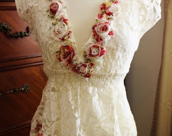 Romantic Paris Couture upcycled Lace top tattered rose tunic