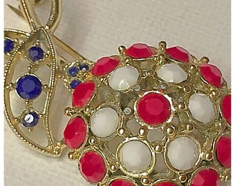 Red & White Flower with Blue, Vintage Patriotic Flower Brooch