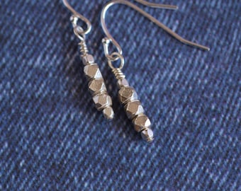 Great Everyday Solid Sterling Silver Nugget Earrings