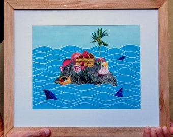 Desserted Island Paper Collage, Paper Collage Art, Paper Collage Work, Paper Collage Artwork, Unique Artwork, Affordable Art
