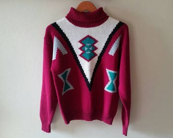 70s Turtleneck Sweater - Aztec Knit Sweater - Size Medium - Vintage Turtleneck Sweater - Red Turquoise Geometric Pattern Pullover Sweater