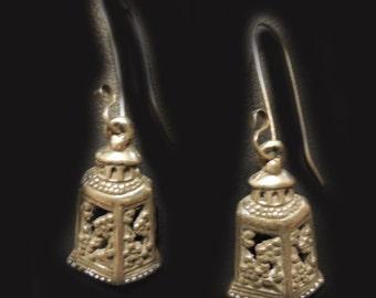Asian Lanterns & Blossom Sterling Silver Earrings