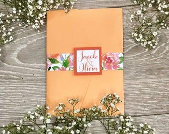 Peach Floral Pocketfold Invitation