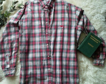 Men's Plaid Button Up Holiday Dress shirt Faconnable