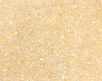Iridescent champagne - 10 gr of caviar jewelry - transparent glass microbeads