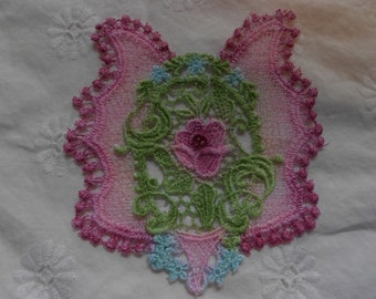 1 Hand Painted Venice Lace Applique for Crazy Quilting Victorian Colors