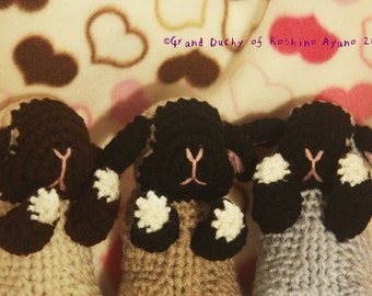Knitted Amigurumi Sleeping Baby Bunny Siamese Lop * * * Goodnight rabbit costume-Siamese flops