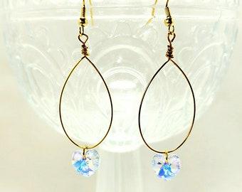 Heart swarovski earrings handmade earrings sparkle earrings party earrings heart earrings
