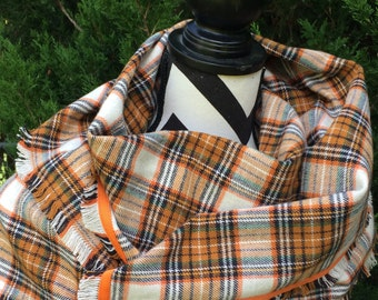Orange and Black infinity scarf, plaid flannel shawl