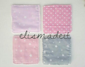 Set of 8 washable, re-useable cotton flannel face pads, make up remover, cleansing wipes