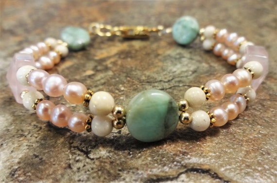 Mint and Pink Gemstone and Pearl Bracelet