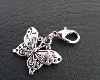 Butterfly Zipper Pull Silver Tone Metal Planner Charm Midori Travelers Notebook Clip Lobster Clasp Planner Accessories Nature Lovers Charm