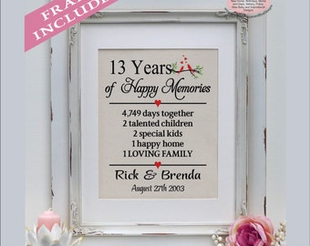 13th anniversary, 13 years married, 13 years together, gift for 13th anniversary,  13th anniversary gift for her, anniversary ( ann402-13)