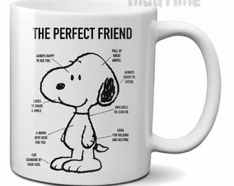 Peanuts - Snoopy - Perfect Friend - Coffee Tea Mug Cup - Ceramic - Gift - 330ml