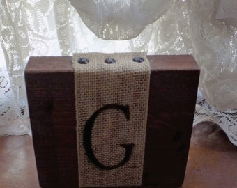Rustic Home Decor - Solid wood, stained block with burlap