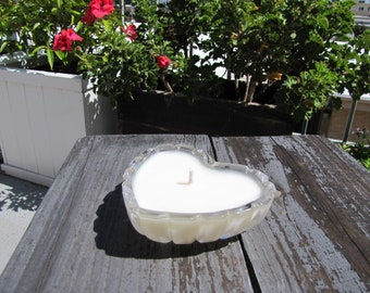 Jasmine Natural Soy Candle in Petite Vintage Crystal Heart-Shaped Glass