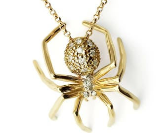 Diamond spider pendant 14k yellow gold black rhodium gold spider pendant necklace white sapphires 14k yellow gold plate 14k gold filled aloadofball Image collections
