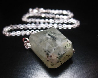 Prehnite Pendant Necklace, Faceted Prehnite Stone Necklace, Faceted Prehnite Nugget, Prehnite Jewelry, Sterling Silver Chain Necklace
