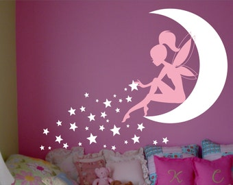 FAIRY Wall Decal, Fairy Wall decor, Wall decal Fairy, Fairy Sitting on Moon, Girls room wall decor,  Stardust, Tinkerbell Wall Decal