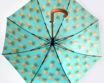 The Tiki - vintage inspired rain umbrella. Large retro tropical canopy with pineapple motifs -- Mother's Day gift.
