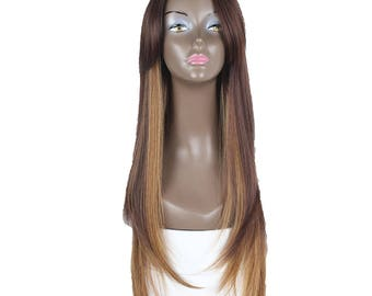 """Synthetic wigs golden brown  26"""" inch long layered smooth silk synthetic wig have six more colors blonde black blue brown and white ombré"""