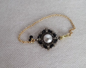 Gray pearl rhinestone Black crystal bracelet gold tone clear crystal Victorian style unique charm mothers day gift for her free shipping