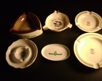 6 Vintage Ashtrays from various hotels in Europe
