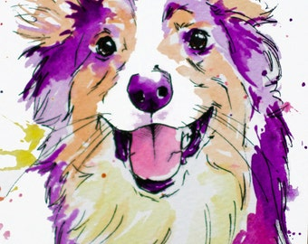 Custom Purple Tone Painted Pet Portrait - Personalized Watercolor Painting - Acrylic, Pen, Ink and Water Color - Dog Cat & Pet Art