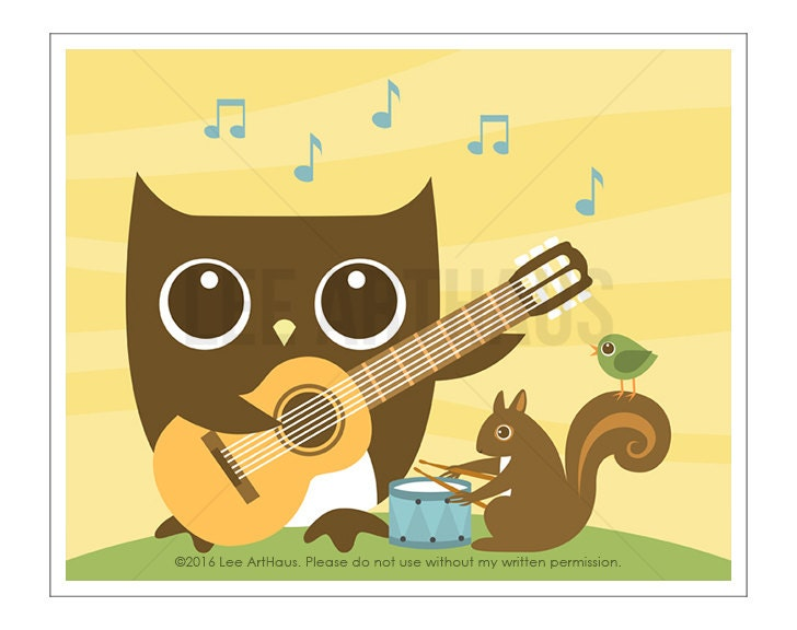 122A Owl Nursery Print Owl and Squirrel Playing Music Wall