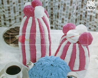 3 Tea and Coffee Cosy DK Sirdar 5578 Vintage Knitting Patterns PDF Instant Download