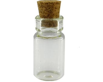 set of 10 vials size 18 x 10 mm glass with Cork